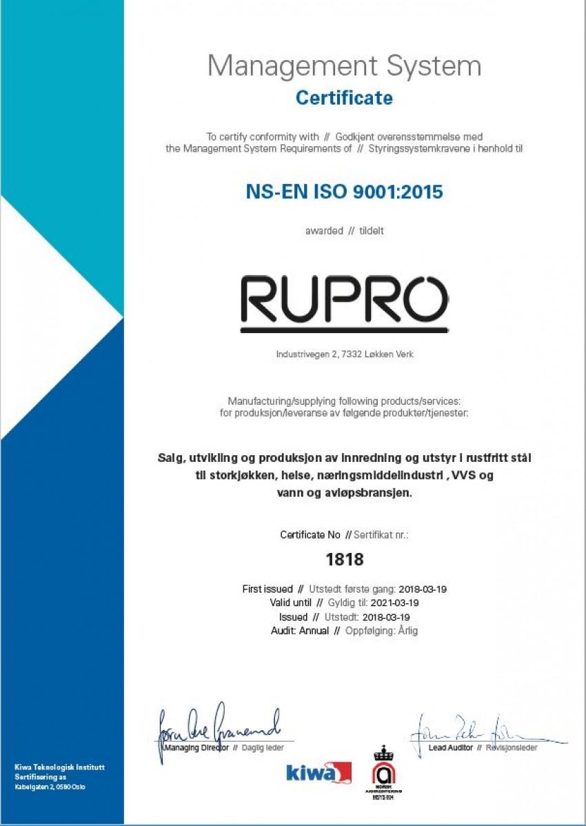 02744f19 Rupro AS - Rupro er ISO 9001:2015-sertifisert